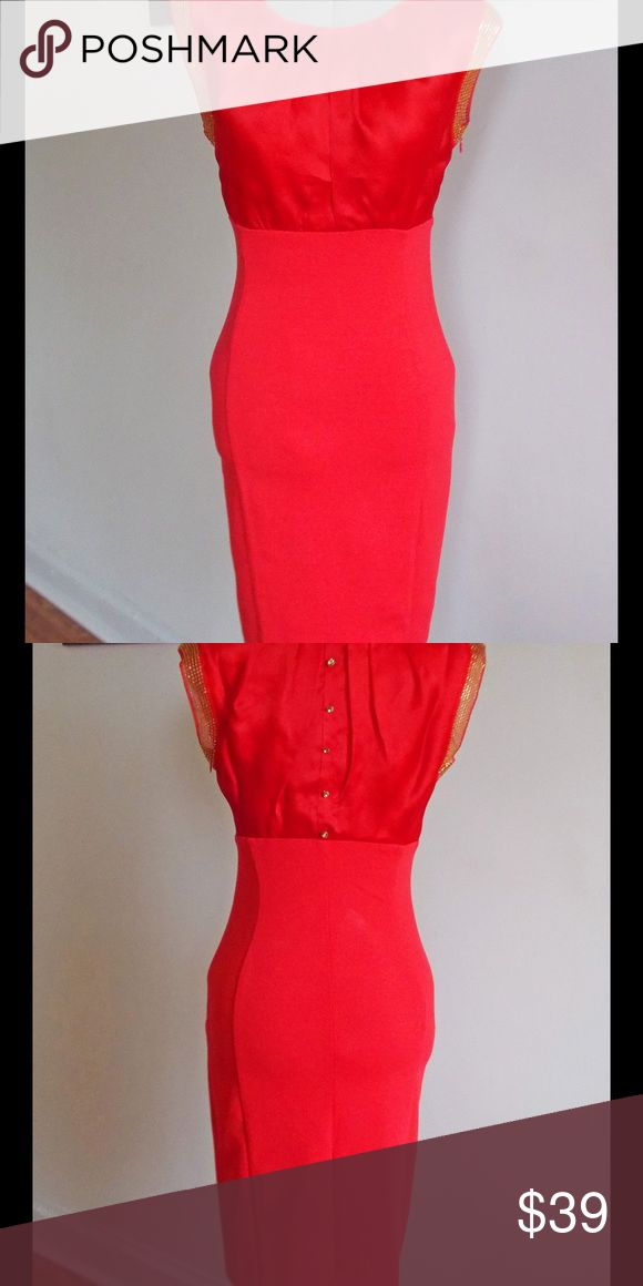 "Ted Baker Dress Sexy, Classy Little Red Dress.  This chic number features a silk bodice with gold rhinestones at the arms.   It also features gold, decorative buttons on the back bodice.    Excellent condition. Dry cleaned and ready to wear. Side zipper closure. Bodice 100% Silk. Bottom Viscose, Nylon, and Elastane. Bodice Lining 100% Polyester.  Measurements: Length 37.5"" Bust 15.5"" Waist 13"" Hips 15"" Measurements done with dress laying flat unstretched. Ted Baker Dresses"