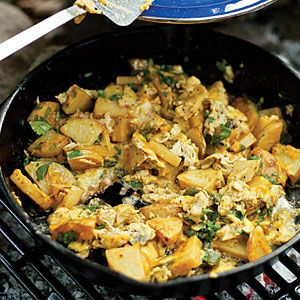 Pinnacles Scramble    Annie Somerville created this dish years ago on a camping trip to the park with her husband, and it's been a brunch favorite at Greens Restaurant ever since.: Camps Ideas, Easy Camps, Camping Meals, Camps Breakfast, Pinnacle Scrambled, Camps Trips, Camps Recipe, Camps Meals, Camps Food