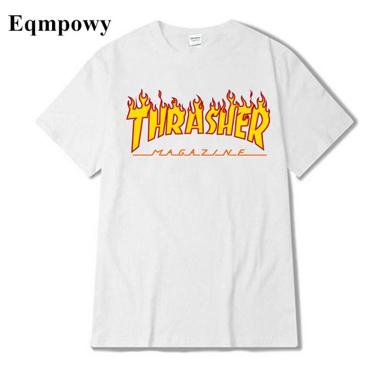 T-Shirts Eqmpowy 2017 skateboard Thrasher T Shirt Men Wome Flame Blaze T- shirts Magazine Hip Hop Trasher Street Wear Thrasher T Shirt *** Offer can  be found ...