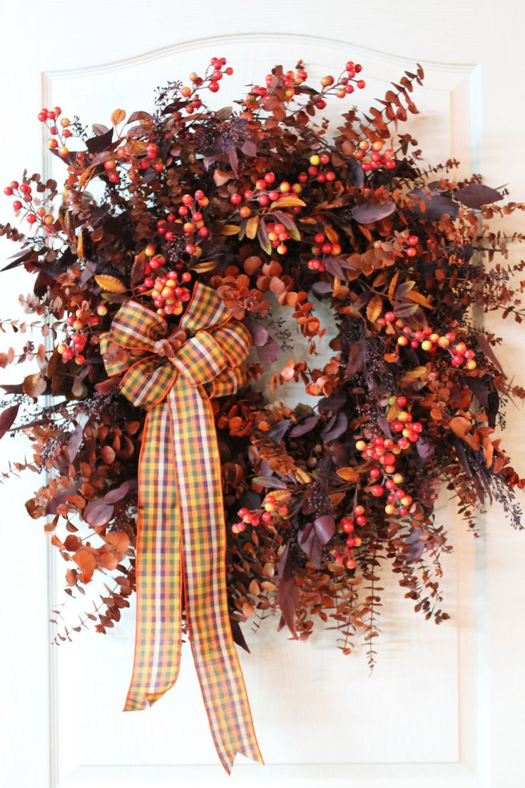 Lg. Fall Country Wreath, Eucalyptus Wreath, Autumn Wreath, Dried Wreath, Silk Wreath, Country Decor - FREE SHIPPING. $150.00, via Etsy.
