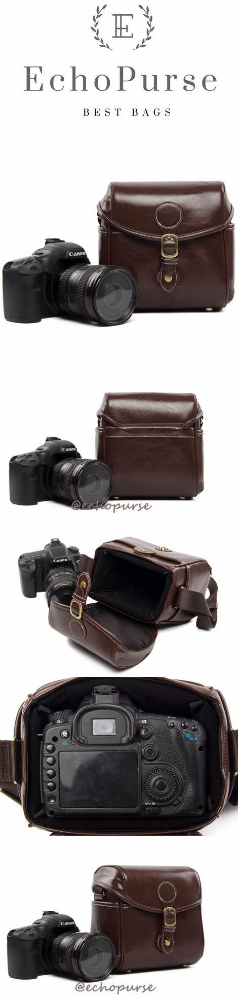 Hot Sale PU Leather DSLR Camera Purse, Coffee SLR Camera Case 288