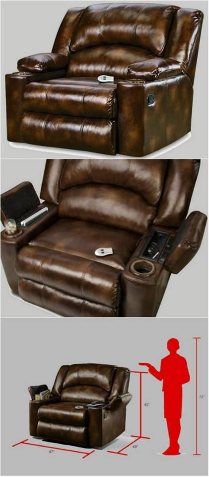 This Oversize Brown Leather Massage Recliner is the perfect Man Cave chair, as it has a combination of features that will help you kick back, ease into an evening tension. Never lose your remote with the ample component storage in the arm. Built on a tough hardwood frame, it also has sturdy steel mechanics. You will love the bonded leather upholstery, and it will look great with any modern, contemporary or transitional decor. This will be your favorite den chair for years to come!