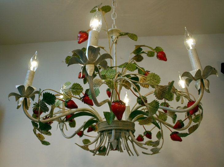 22 best tole chandeliers lamps candlesticks images on pinterest italian tole chandelier strawberry chandelier mozeypictures Image collections
