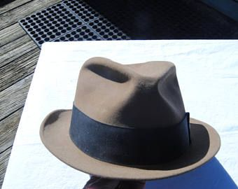 Dobbs Fedora Hat Size7  7/8/Light Tan Beige Brown Hat/Vintage Hat Purchased from Tucker and Tucker Pittsburgh in the mid ninties