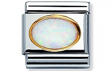 Nomination stainless steel and 18ct gold with an oval White Opal Hard Stone Classic Charm