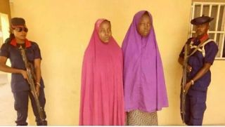 Operatives of the Borno State Command of the Nigeria Security and Civil Defence Corps NSCDCon Tuesday intercepted two teenage girls including an ex-wife of the factional leader of the dreaded Boko Haram sect Mamman Nur.  State commandant of the corps Ibrahim Abdu while parading the girls at a press briefing in Maiduguri said they were suspected to have been smuggled from Sambisa forest into the town carry out suicide attacks.  Abdu disclosed that one of the girls a 15-year-old Fatima Kabir…