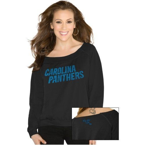 Touch By Alyssa Milano Carolina Panthers Ladies Draft Choice Boat Neck Sweatshirt - Black