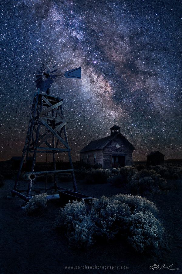 """Oregon Homestead under the Milky Way by Rick Parchen on 500px. """"Eastern Oregon Homestead under the Milky Way. This area of Oregon is sparsely populated (...obviously) which makes for great night shooting! Clear/dark skies, no light pollution, and plenty of abandoned content to explore and shoot. Enjoy!"""""""