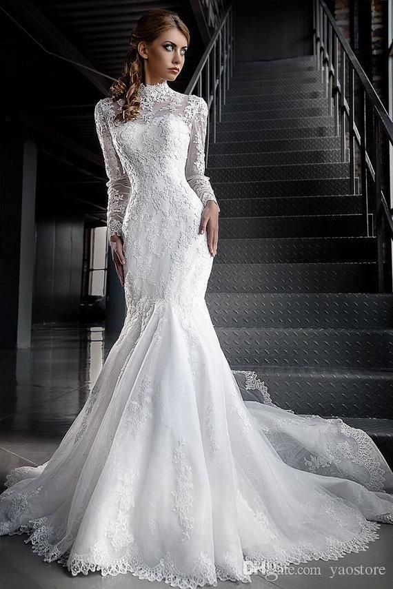 2015 vintage two pieces wedding dresses mermaid with poet for High collared wedding dress