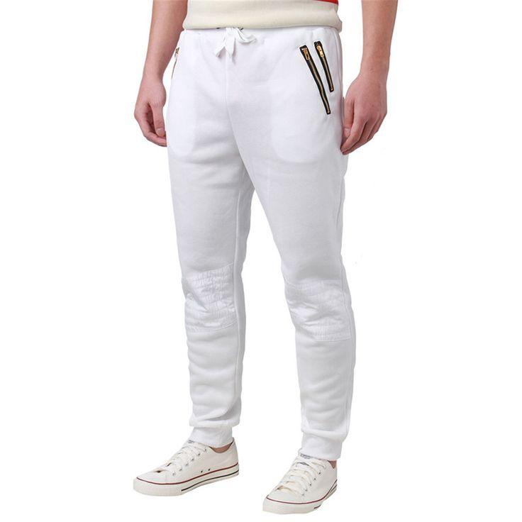 Men Jogger Pants, Elastic Waist, Casual Trousers, Gray, Black, White