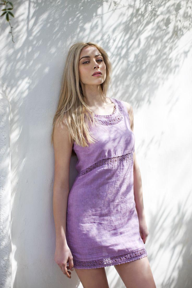 Haris Cotton,Linen Dress with Cotton Lace 1374 Lavender