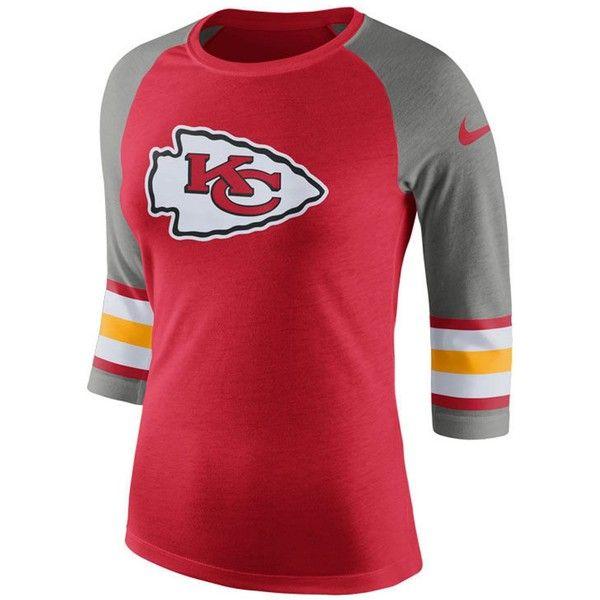 Nike Women's Kansas City Chiefs Stripe Raglan Triblend T-Shirt ($40) ❤ liked on Polyvore featuring tops, t-shirts, raglan t shirt, t shirt, oversized t shirt, striped shirts and logo t shirts