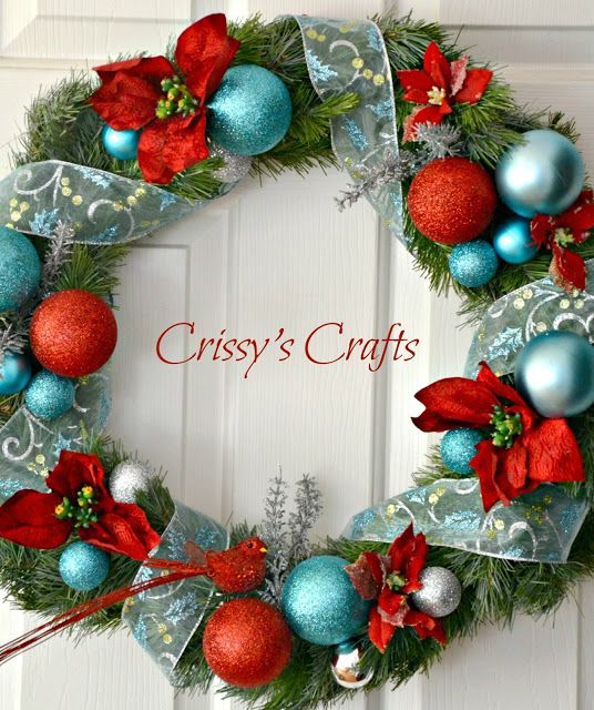 Crissy's Crafts: Aqua and Red Christmas Tree