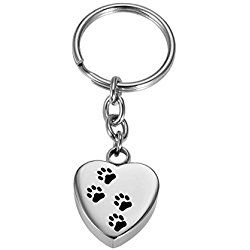 Silver Memorial Pet/Dog Paw on Heart Keychain Pet Cremation Urn Keepsake Charm Ashes Keyring with Engraving Service