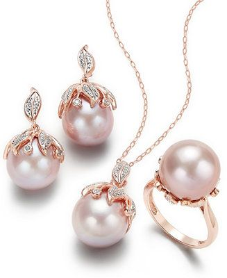 667f1346a7ea86 Macy's Pink Windsor Cultured Pearl and Diamond Jewelry Collection in 14k  Rose Gold Jewelry & Watches - Macy's
