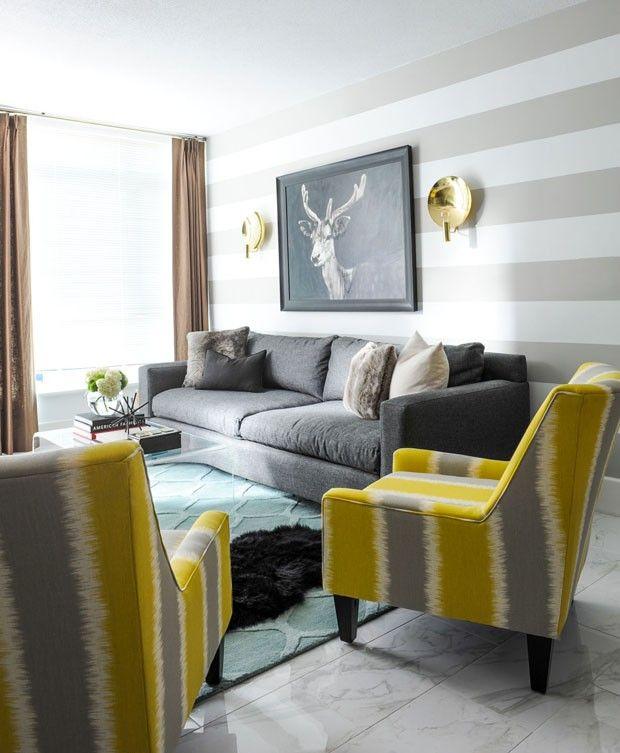 Sala De Estar Cinza Azul E Amarelo ~ Sala de estar com poltronas amarelas e sofá cinza é versão urbana