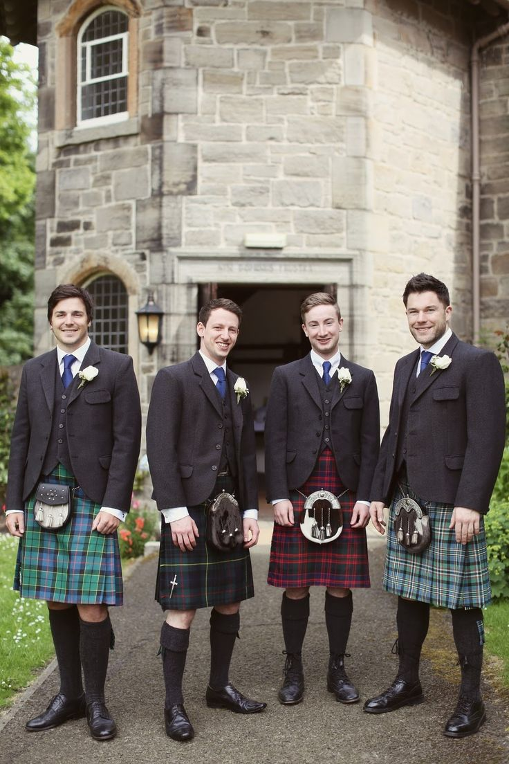 Peonie Cole At Home: Ushers in kilts, grey tweed jackets and cream rose corsages at Cramond Kirk, Scotland. Photograph by Craig and Eva Sanders.