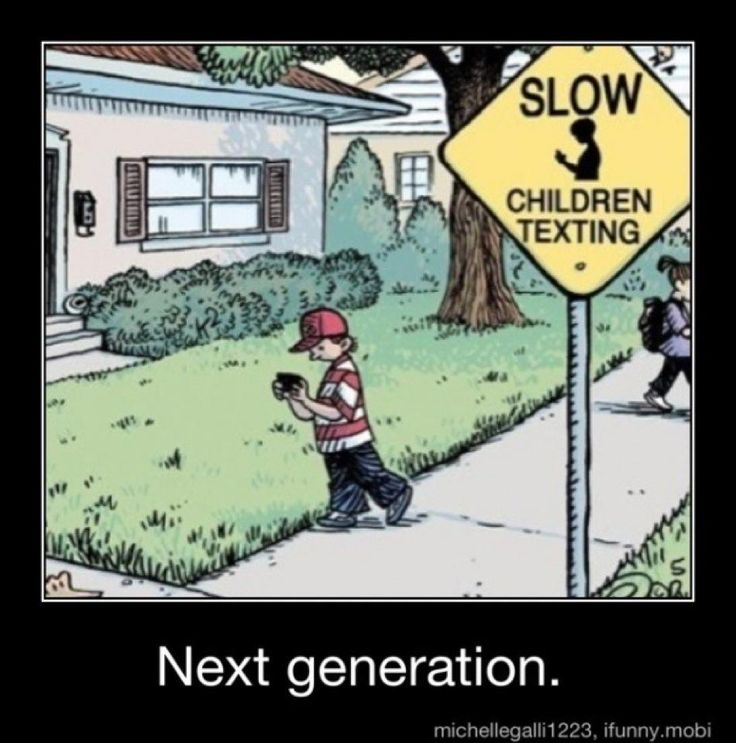 Next generation sign: slow children texting