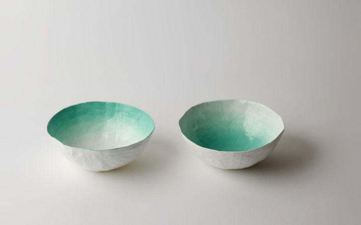 up in the air somewhereCeramic Bowls, Aqua Fade, Bowls Sets, Paper Mache, Fade Bowls, Papier, Papier Mache, Ceramics Bowls, Mache Bowls