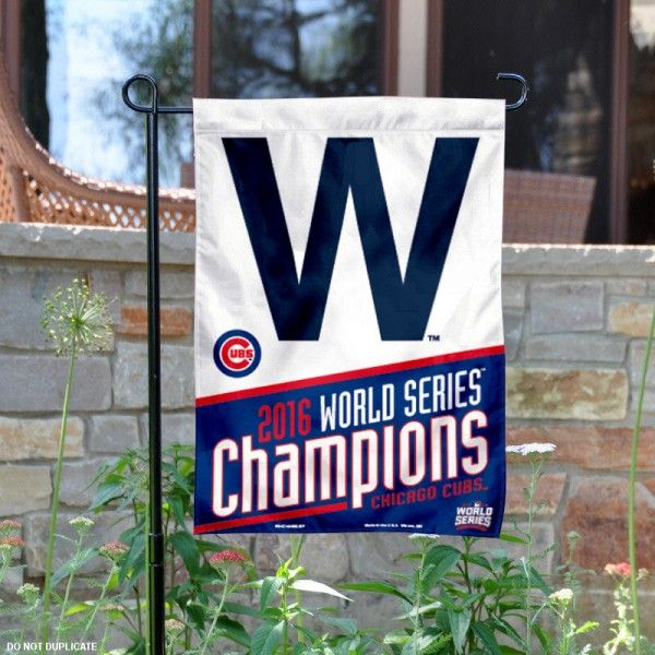 Chicago Cubs World Series Champs Garden Flag is 10.5x15 inches in size and displays 2016 World Series logos. These Chicago Cubs World Series Champs...