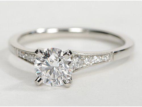 Petite Milgrain Diamond Engagement Ring in Platinum (.10 ct. tw.) this is the one i want!:)