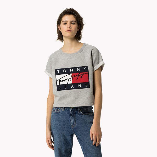 Hilfiger Denim Sweatshirt Mit Flag-logo - lt grey htr (Grau) - Hilfiger Denim Sweatshirts - Hauptbild