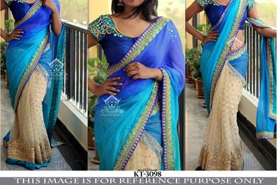 Blue Georgette & Cream Net Saree With Blouse Bollywood Sarees Online on Shimply.com