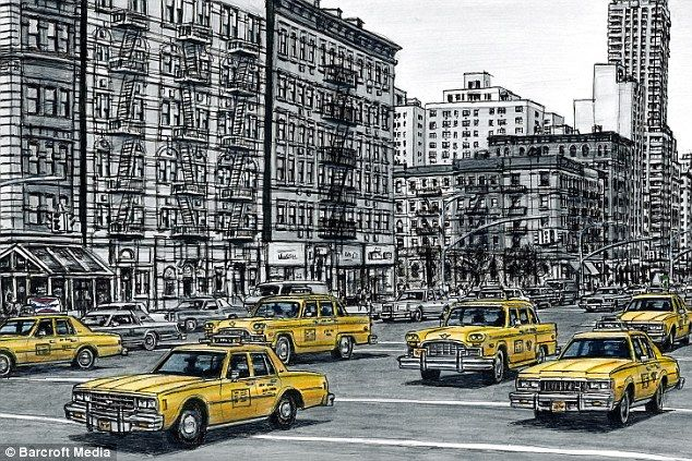 New York New York: The artist draws a street scene from the Big Apple