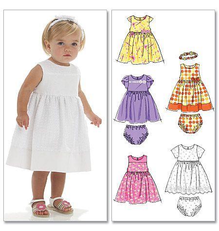 Mönster att sy en fin babyklänning med byxa och hårband till