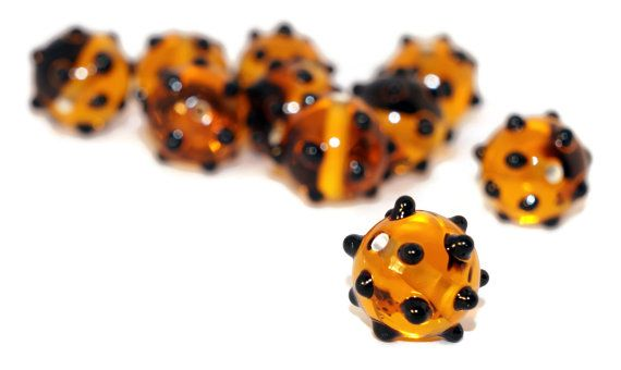 Orange Black Lampwork Czech Glass Handmade Beads Round Beads Set Hedgehog Original Authentic 10mm by CzechBeadsExclusive, $3.54  #bead #czech #lampwork #glass #etsy #shop