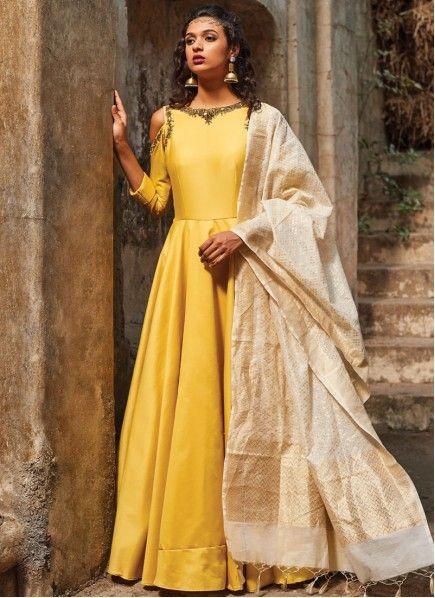 Dazzling Stone Work Yellow Banarasi Silk Floor Length Anarkali Suit