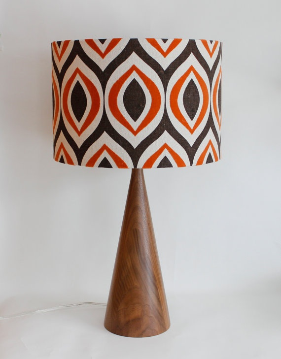 lamp shade 14 drum retro modern orange and by - Lamp Shades For Table Lamps
