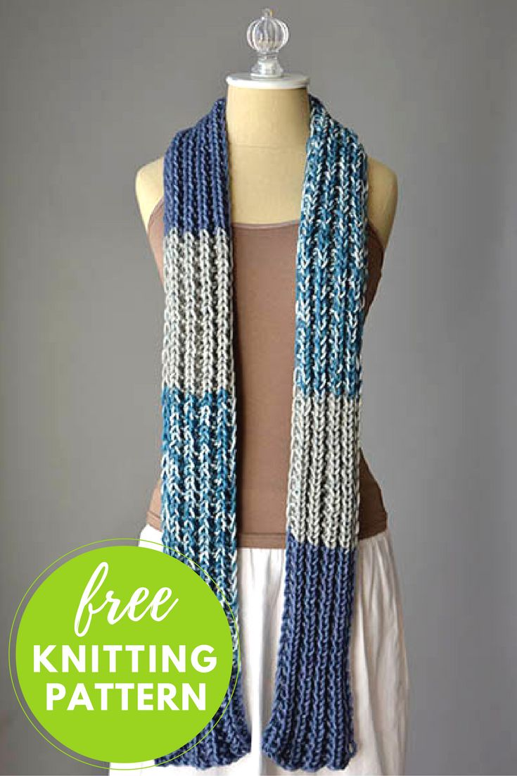 Knitting Pattern For Thin Scarf : Everyones Favorite Scarf Free Knitting Pattern (NobleKnits Knitting Blog)