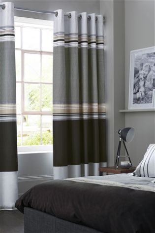 Black Stripe Blackout Eyelet Curtains