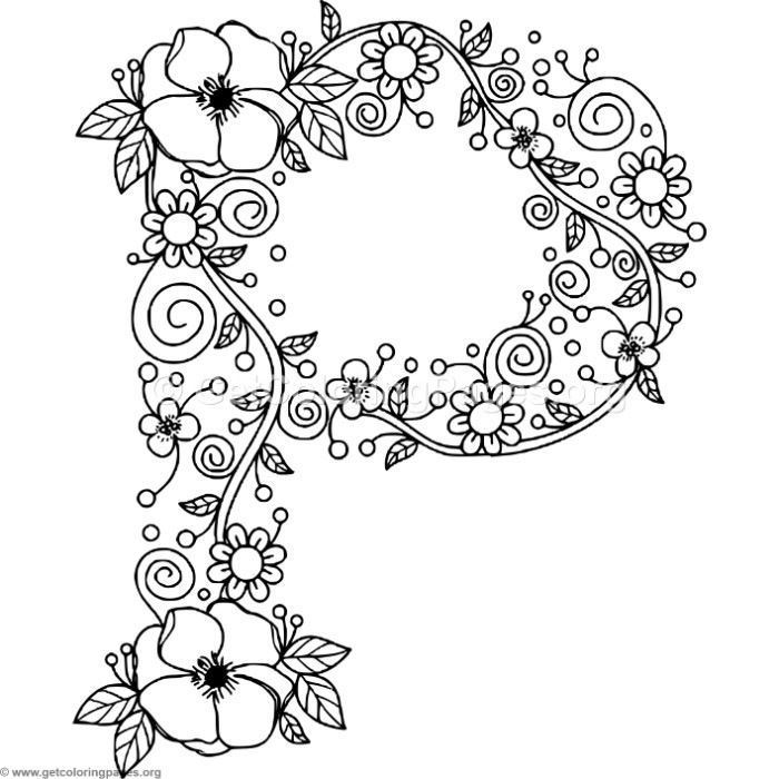 Download Free Floral Alphabet Letter P Coloring Pages Coloring