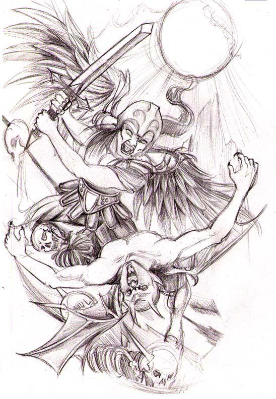 Angel Vs Demon By Srtaquesadilla Angel Tattoo Designs