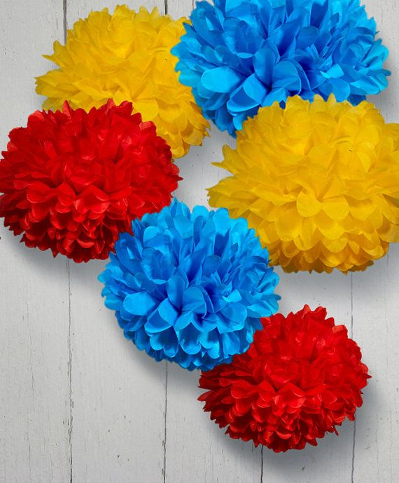Set of 6 Tissue Paper Pom Poms  Choose your Colors by PomGarden, $22.50