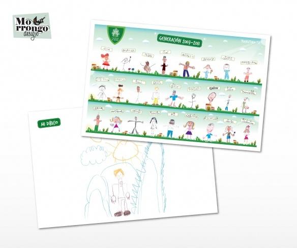 """Individuales """"Colegio El Roble"""" : Papel Ilustración 150 + Plastificado (enmicado)  Regalo para los niños en el fin del ciclo lectivo del jardín.  ® MORRONGO DESIGN 2011. All rights reserved"""