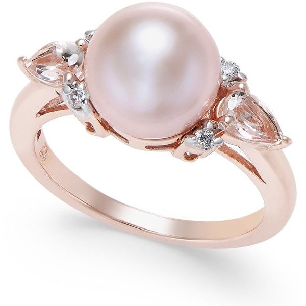 Pink Cultured Freshwater Pearl (9mm), Morganite (3/8 ct. t.w.) and... ($1,300) ❤ liked on Polyvore featuring jewelry, rings, rose gold, 14k jewelry, rose gold jewelry, pink gold jewelry, 14 karat ring and red gold ring