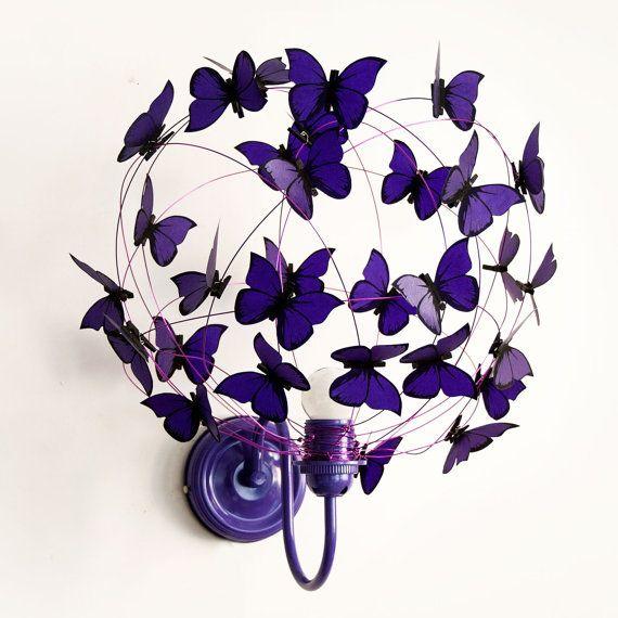 "Wall lamp with paper butterflies ""Deep Purple"""