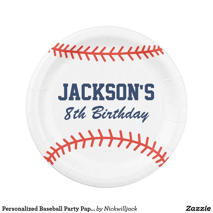 Personalized Baseball Party Paper Plates  sc 1 st  Pinterest : baseball paper plates - pezcame.com