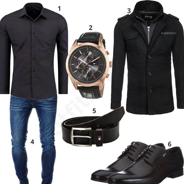 Schickes Business-Outfit für Männer mit schwarzem Hemd, Ledergürtel und Armbanduhr von Tommy Hilfiger, Jack&Jones Jeans, Bolf Mantel und Bugatti Schuhen. #outfit #style #herrenmode #männermode #fashion #menswear #herren #männer #mode #menstyle #mensfashion #menswear #inspiration #cloth #ootd #herrenoutfit #männeroutfit