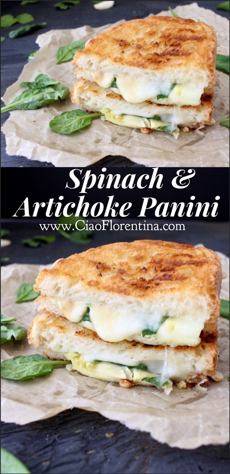 Spinach and Artichoke Grilled Cheese Panini Recipe with gooey smoked mozzarella cheese | CiaoFlorentina.com @CiaoFlorentina