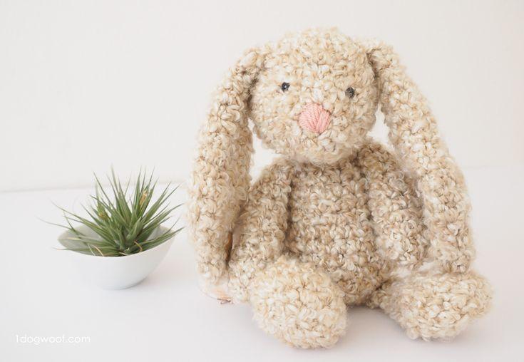Floppy-eared stuffed bunny with free crochet pattern