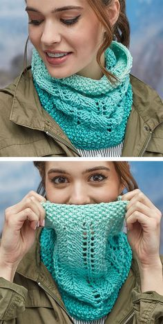 Free Knitting Pattern for Easy 2 Row Repeat Cozy Lace Cowl – Knit flat in a 2 ro…