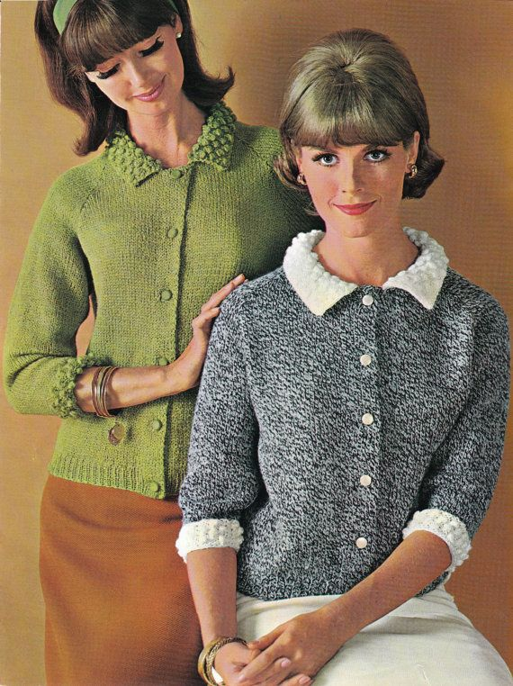 A real wholesome awesome womens knitted cardigan pattern; perfect for any retro 1960's fashion fan. Finished measurement of the sweater is for sizes 12 -