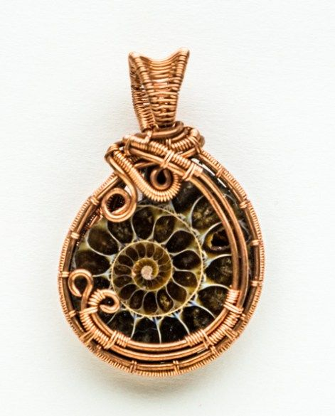 Earth Mother Godess  Copper wire wrapped amonite pendant