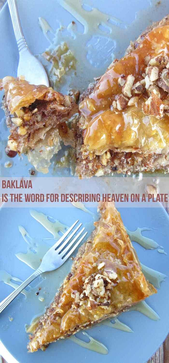 This Greek Baklava Recipe tells you everything you need to know, on how to make Baklava. It yields 16 Greek-sized pieces soaked in honey syrup and filled with a nut and spice mix. Ridiculously tasty! #baklava #dessert #easyrecipe #stepbystep