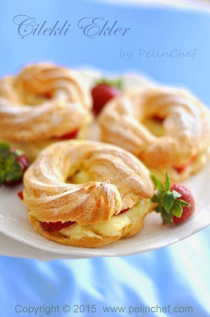 PelinChef: ÇİLEKLİ EKLER strawberry eclair