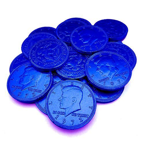 Fort Knox Dark Blue Milk Chocolate Coins - 1 LB Mesh Bag